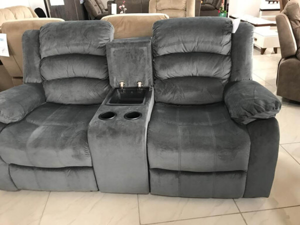 7 Seat Grey Heavy Suede Fabric Recliner Sofa Set