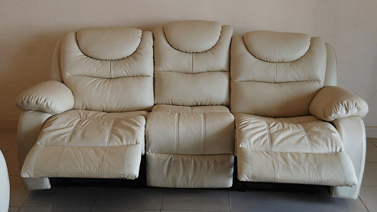 White Pure Leather 7 Seater Sofa Sets
